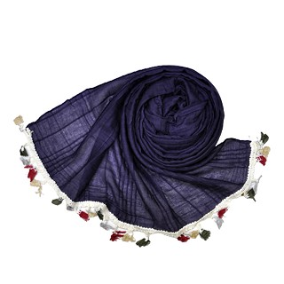 Designer Party Wear Striped Liner Stole With Fringe's - Purple