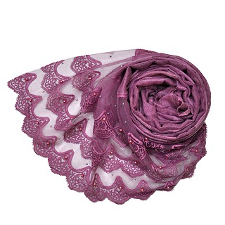 Designer 3 Liner Mountain Design Hijab With Pearl - Purple