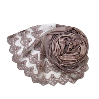 Designer Three Liner Mountain Design Hijab With Pearl - Brown