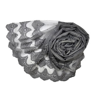 Designer Three Liner Mountain Design Hijab With Pearl - Grey
