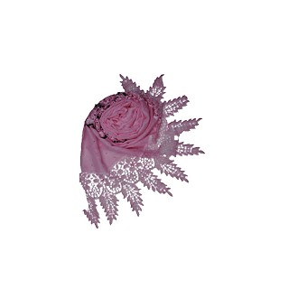 Moti and diamond studded hijab designed with black stripes - Light pink