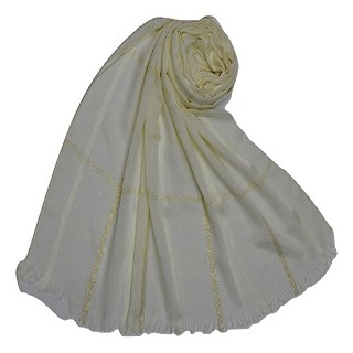 Golden stripes square box hijab - Whitish cream