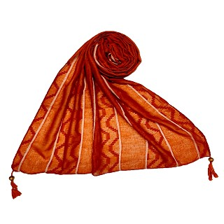 Wave design stripes hijab with two bold fringe's - Orange