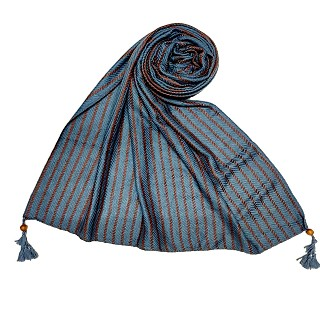 Multicolor threaded liner hijab - Blue