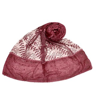 Net hijab with moti and diamond work - Maroon