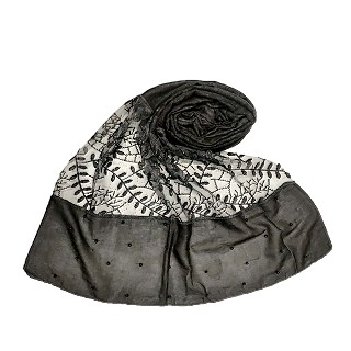 Net hijab with moti and diamond work - Black