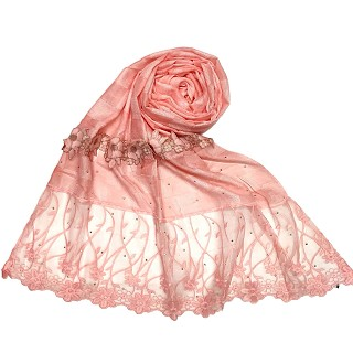 Net hijab with flower design and moti work - Orange