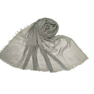 Plain stole in crinkled cotton fabric - Green