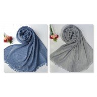Combo pack- 2 Crinkled Cotton Mesh Sparkling  women's Stole-Blue-Grey