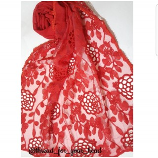 Designer Stole- Cotton Lace Fabric