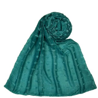 Designer Cotton Checkered Stole - Mint Green