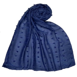 Designer Cotton Checkered Stole - Blue