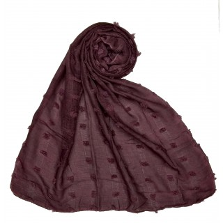 Designer Cotton Checkered Stole - Maroon