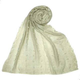 Designer Cotton Checkered Stole - Ivory White