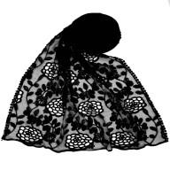 Designer Cotton Half Net Stole - Black