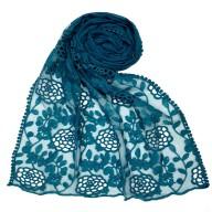 Designer Cotton Half Net Stole - Green