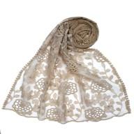 Designer Cotton Half Net Stole - Light Brown