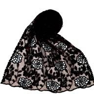 Designer Cotton Half Net Stole - Dark Brown