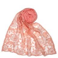 Designer Cotton Half Net Stole - Pink