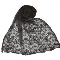 Cotton Half Net Stole - Grey