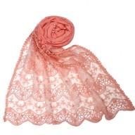 Cotton Half Net Stole - Pink