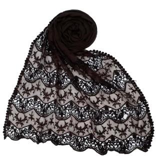 Cotton Half Net Stole - Brown