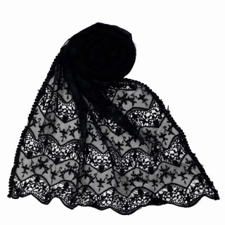 Cotton Half Net Stole - Black
