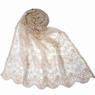 Designer cotton Half Net Stole - White