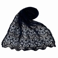 Designer cotton Half Net Stole - Blue