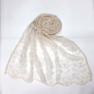 Cotton Half Net Stole - White