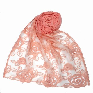 Cotton Half Net Stole - Pink