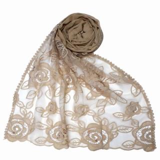 Designer Cotton half net Stole - Brown