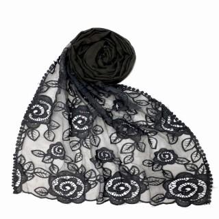 Designer Cotton half net Stole - Dark Grey