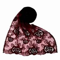 Designer Cotton half net Stole - Maroon