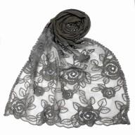 Designer Cotton half net Stole - Grey