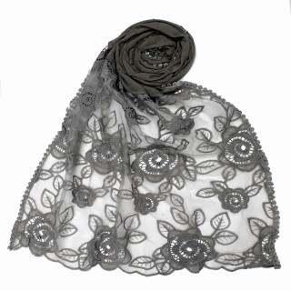 Designer Cotton half net Stole - Grey