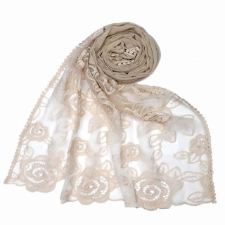 Designer Cotton half net Stole - White