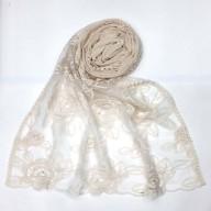 Designer Cotton half net Stole - Milky White