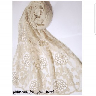Cotton Lace Stole- Creamish-white