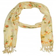 Big Cotton Stole- Cream color Flower Printed