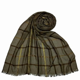 Designer Cotton Golden Striped Stole- Brown