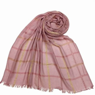 Designer Cotton Golden Striped Stole- Pink