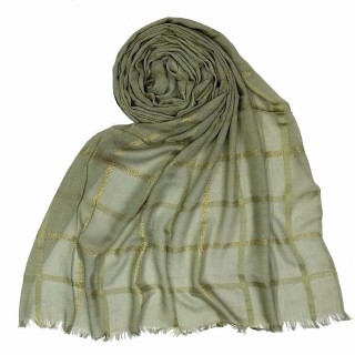 Designer Cotton Golden Striped Stole- Grey