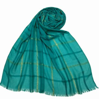 Designer Cotton Golden Striped Stole- Green
