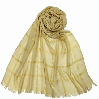 Designer Cotton Golden Striped Stole- Light brown