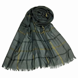 Designer Cotton Golden Striped Stole- Dark Grey