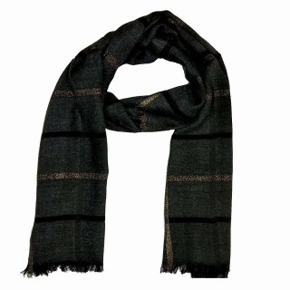 Designer Cotton Golden Striped Stole- Black