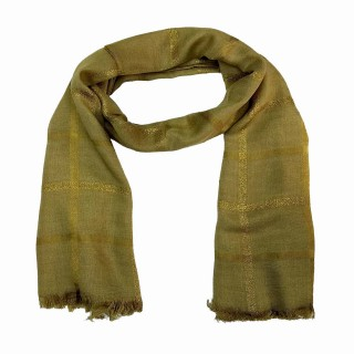 Designer Cotton Golden Striped Stole- Bronze Brown