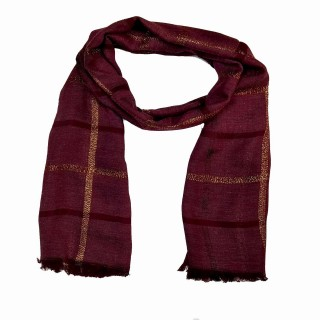 Designer Cotton Golden Striped Stole- Maroon