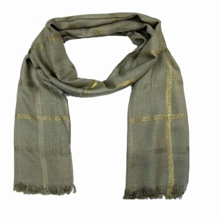 Designer Cotton Golden Striped Stole- Ash Grey